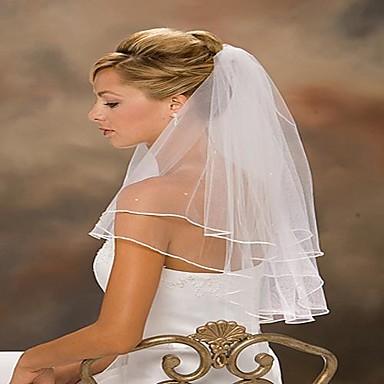 Menyasszonyi fátyol Kétkapcsos Váll fátyol Szalaggal szegett 31,5 hüvelyk (80 cm) Tüll