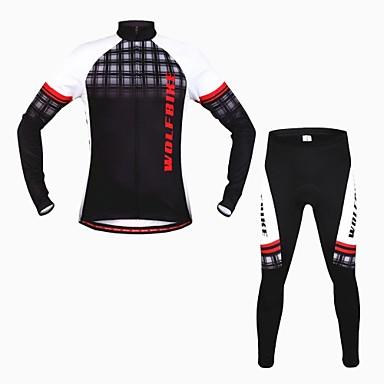 wolfbike Herren Herbst Winter Mountainbike atmungs Langarm Radfahren Anzug - schwarz