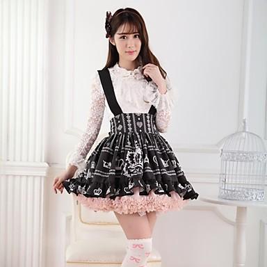 Rok Schattig Prinses Cosplay Lolita Jurken Zwart Print  Lolita Gemiddelde Lengte Rok Voor Dames Polyester