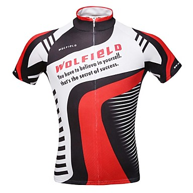 WOLFBIKE Erkek Kısa Kollu Bisiklet Forması Bisiklet Forma, Hızlı Kuruma, Nefes Alabilir, Pochłanianie potu