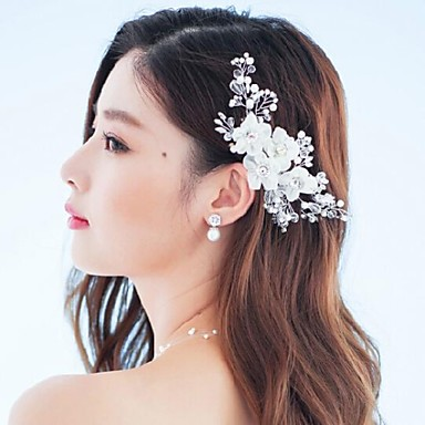 Crystal Rhinestone Fabric Alloy Tiaras Flowers Barrette 1 Wedding Special Occasion Party / Evening Outdoor Headpiece
