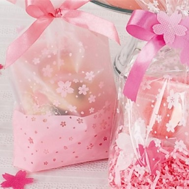 Oriental Cherry Dull Polish Plastic Favor Bags For Wedding Set Of