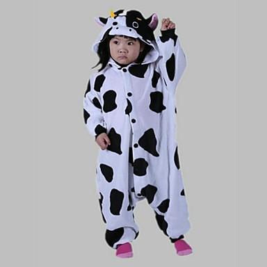 Kigurumi pyjamas Melkkoe Onesie pyjamas Kostuum Fleece Cosplay Voor Kinderen Dieren nachtkleding spotprent Halloween Festival / Feestdagen