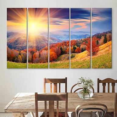 е-Home® растягивается холсте горы и деревья Декоративная роспись Набор из 5