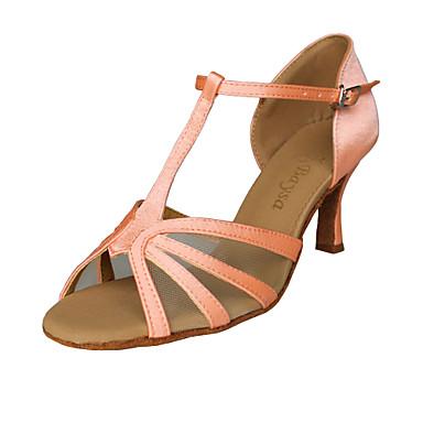 Women's Dance Shoes Latin/Ballroom Satin Chunky Heel Pink