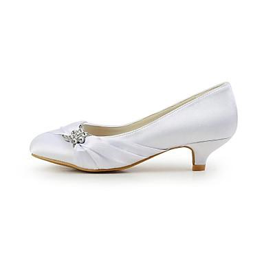 Evénement Ivoire Soirée 02433174 Printemps Soirée Bas Automne Mariage Eté Talon Femme Evénement Strass amp; Blanc Satin Chaussures amp; Fwq6xa8