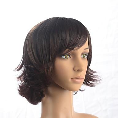 Kapaksız moda kısa dalgalı koyu kahverengi fashional sentetik peruk