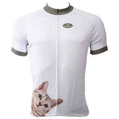 ILPALADINO Homme Manches Courtes Maillot de Cyclisme - Blanc Vélo Maillot, Séchage rapide, Résistant aux ultraviolets, Respirable