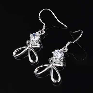 Women's Stud Earrings Luxury European Silver Titanium Imitation Diamond Roses Flower Jewelry