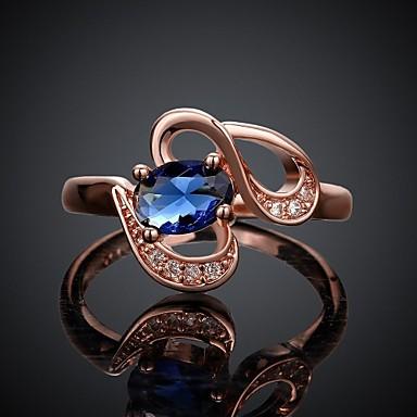 Kadın's Bildiri Yüzüğü - Zirkon, Platin Kaplama, Altın Kaplama 7 / 8 Beyaz / Gül / Altın Uyumluluk Düğün / Parti / Günlük