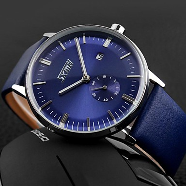 SKMEI® Men's Business Style Japanese Quartz Second Dial Water Resistant/Water Proof Calendar Fashion Leather Band Wristwatch Cool Watch Unique Watch