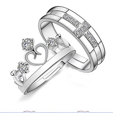 Heren Dames Ringen voor stelletjes Zilver Sterling zilver Kroonvorm Open Verstelbaar Bruiloft Feest Dagelijks Causaal Kostuum juwelen