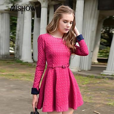 7913dbe47d puntos de cuello contraste diseño patrón de color pulsera redonda de manga  larga vestido delgado de