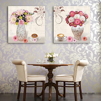 E-HOME® Stretched Canvas Art A Vase And Flowers Decorative Painting Set of 2