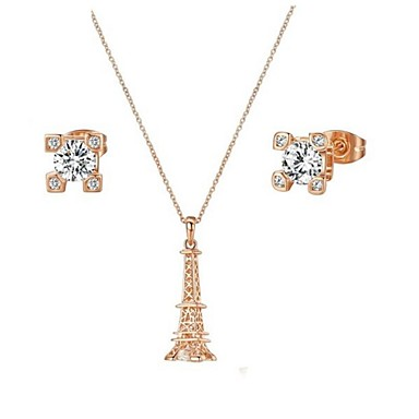 Bridal Jewelry Set 18K Rose Gold Plated CZ Diamond Certified Eiffel Tower Necklace Earring Engagement