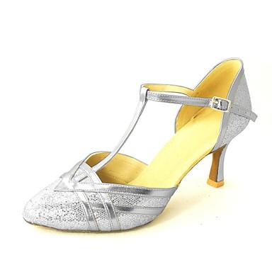 Women's Modern Shoes / Standard Shoes Sparkling Glitter / Paillette High Heel Buckle Customized Heel Customizable Dance Shoes Silver / Blue / Gold
