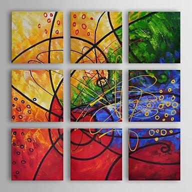 Hang festett olajfestmény Kézzel festett - Absztrakt Kortárs Vászon / Nyújtott vászon