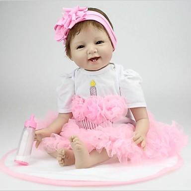 NPK DOLL Lebensechte Puppe Baby 22 Zoll Silikon / Vinyl - lebensecht, Handaufgetragene Wimpern, Gekippte und versiegelte Nägel Mädchen