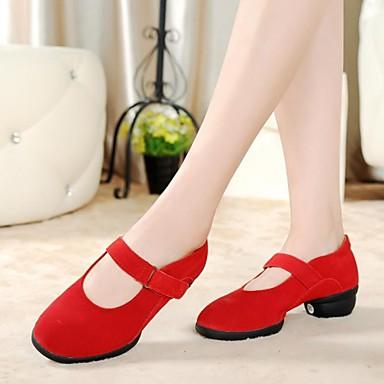 Для женщин Танцевальные кроссовки Кожа С раздельной подошвой На плоской подошве Черный Красный