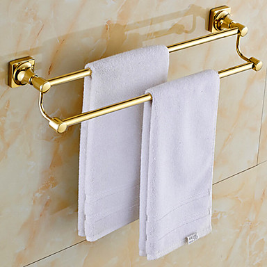 Towel Bar Contemporary Brass 1 pc - Hotel bath 2-tower bar / Double