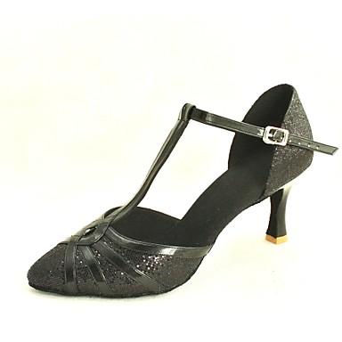 Жен. Современный Обувь для стандарта Лак Блестки На высоких каблуках Пряжки Каблуки на заказ Красный Розовый Серебро Синий Золотистый