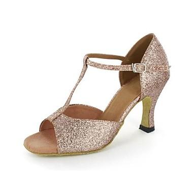 Dames Latin dansschoenen Glitter Sandalen Speciale hak Aanpasbaar Dansschoenen Goud