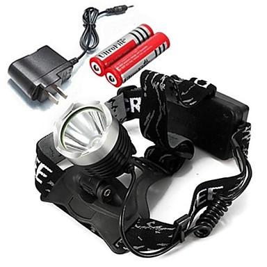 Kafa Lambaları Far LED lm Kip Cree XM-L T6 Şarj Aleti ile Ayarlanabilir Fokus Şarj Edilebilir Kamp/Yürüyüş/Mağaracılık Çok Fonksiyonlu