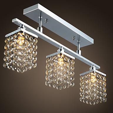 Flush Mount Ambient Light Chrome Metal Crystal 110-120V / 220-240V Bulb not included / G9