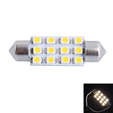 billige Elpærer-gc® 39mm 3W 150lm 3000K 12x3528smd varm hvit LED for bil lesing / lisens plate / dør lys lampe (DC12V)