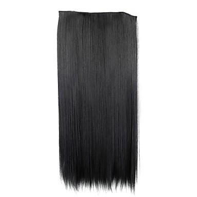 24 inch 120g hosszú fekete szintetikus egyenes klip hajhosszabbítás 5 klip