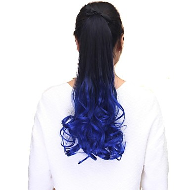 High Quality Synthetic Hair Piece 20 Inch Long Wave Clip In Ribbon Ponytail