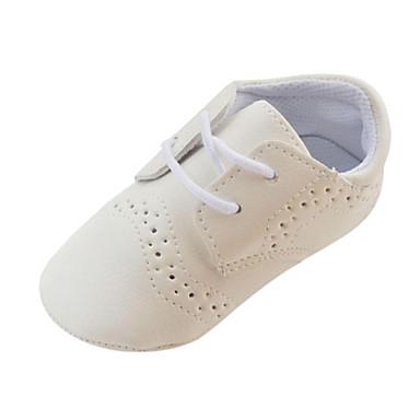 Jongens Baby Platte schoenen Eerste schoentjes Wiegschoenen Kunstleer Lente Herfst Winter Causaal Veters Platte hak Wit Bruin Onder 2,5cm
