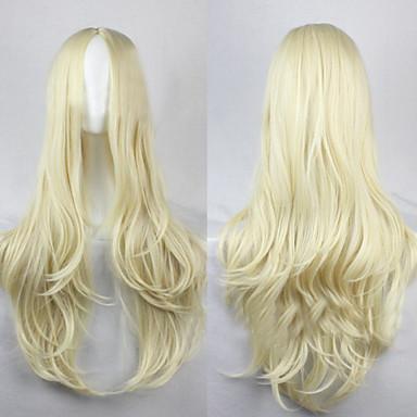 halpa Synteettiset peruukit ilmanmyssyä-Synteettiset peruukit Kihara / Löysät aaltoilevat / Luonnolliset aaltoilevat Tyyli Epäsymmetrinen leikkaus Suojuksettomat Peruukki Kulta Kerma Synteettiset hiukset 25 inch Naisten Luonnollinen