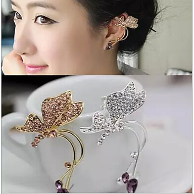 Women's Synthetic Diamond Ear Cuff - Rhinestone Butterfly, Animal Silver / Golden For Wedding / Party / Daily