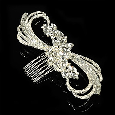 Sterling Silver Alloy Hair Combs Flowers Headpiece Elegant Style