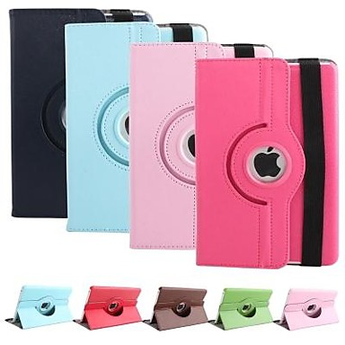 360 Degree Rotating Stand PU leather Case Smart Cover For iPad mini 1/2(Assorted Color)