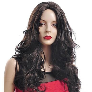 Syntetiske parykker Dame Krøllet Asymmetrisk frisyre Syntetisk hår Naturlig hårlinje Svart Parykk Lang Lokkløs Brunlig Svart