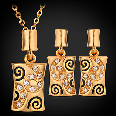 Crystal / Rhinestone / Gold Plated Jewelry Set Earrings / Necklace - Square Gold / White Jewelry Set For Wedding / Party / Daily
