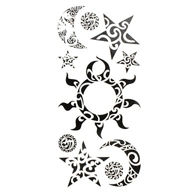 1pc new chic waterproof temporary tattoos wrist neck arm leg tattoos sun moon star body tattoos. Black Bedroom Furniture Sets. Home Design Ideas