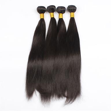 4Pcs/lot 24inch Raw Brazilian Virgin Hair Natural Black Straight Human Hair Weaving Weft