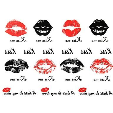 2Pcs Yimei Tattoo Stickers Waterproof Animal Series Women/Girl/Men/Adult/Boy/Teen Black   Lip Print  Pattern  17cm*16cm