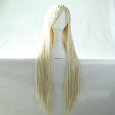 Synthetische Perücken Glatt Asymmetrischer Haarschnitt Synthetische Haare Natürlicher Haaransatz Weiß Perücke Damen Lang Kappenlos