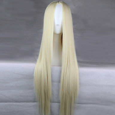Synthetic Wig Straight Asymmetrical Haircut Synthetic Hair Natural Hairline Blonde Wig Women's Long Capless