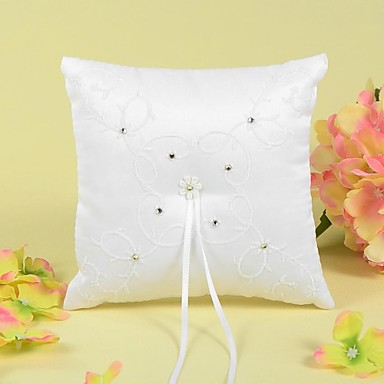 Ring Pillow In Satin With Ribbons/Rhinestones/Embroidery Wedding Ceremony