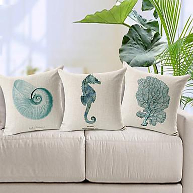 3 pcs Cotton / Linen Pillow Cover, Animal Modern / Contemporary