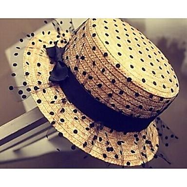 Women's Fashion Net Yarn Lace Sweet Dot Straw Hat Basketwork Hats With Wedding/Party Headpiece