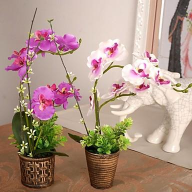 Une succursale Soie Plastique Orchidées Fleur de Table Fleurs artificielles