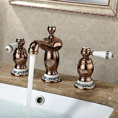Bathroom Sink Faucet Widespread Contemporary Design Rose Cold Finish Faucet