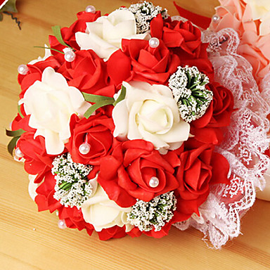een boeket van 23 pe simulatie rozen bruiloft boeket bruiloft bruid bedrijf bloemen, 4 kleuren