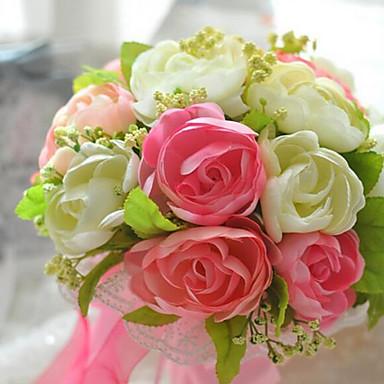Букет из 20 шелковой ткани моделирования розы свадебный букет невесте венчания, цветами, розовые и оранжевые